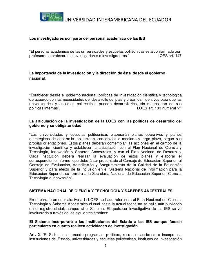 """UNIVERSIDAD INTERAMERICANA DEL ECUADORLos investigadores son parte del personal académico de las IES""""El personal académico..."""