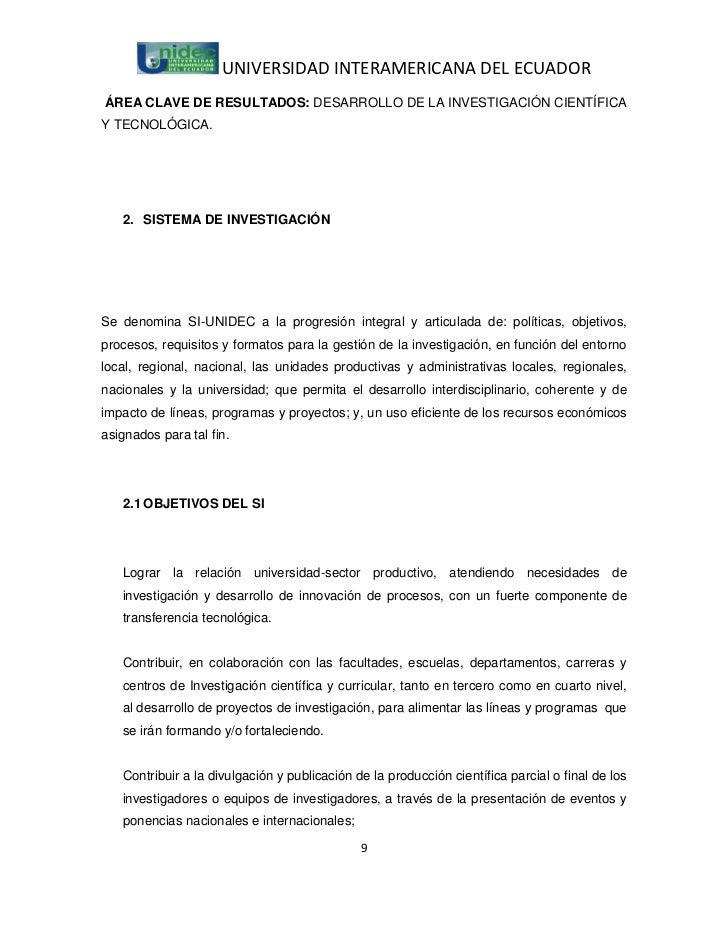 UNIVERSIDAD INTERAMERICANA DEL ECUADORÁREA CLAVE DE RESULTADOS: DESARROLLO DE LA INVESTIGACIÓN CIENTÍFICAY TECNOLÓGICA.   ...
