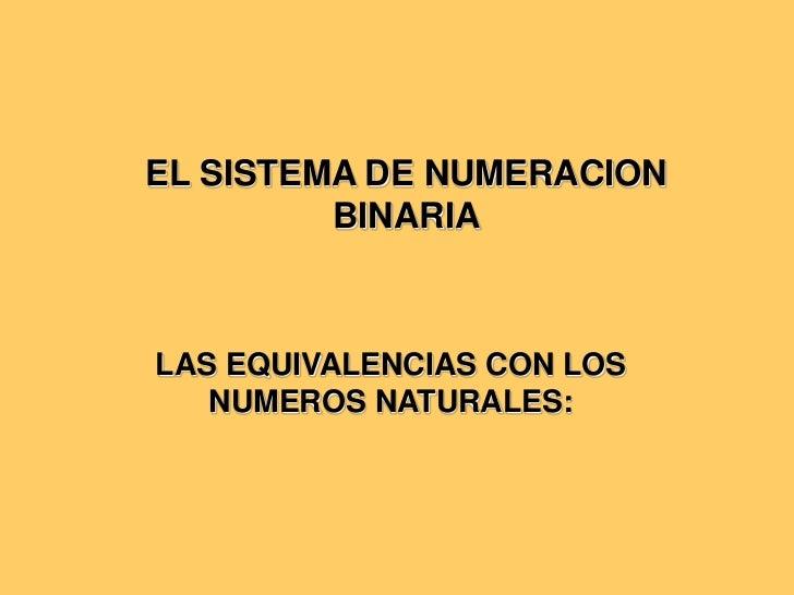EL SISTEMA DE NUMERACION BINARIA<br />LAS EQUIVALENCIAS CON LOS NUMEROS NATURALES:<br />