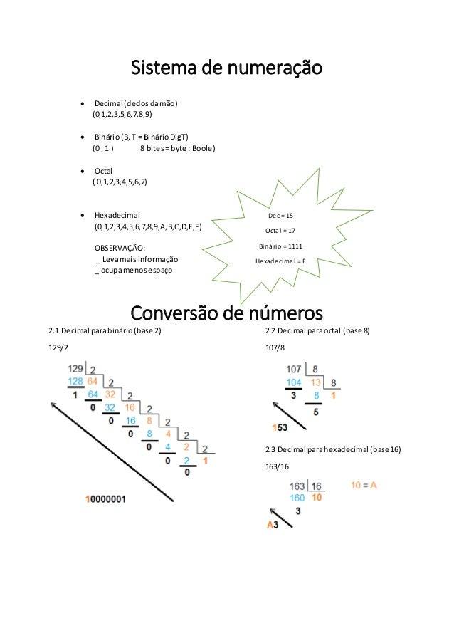 Sistema de numeração  Decimal (dedosdamão) (0,1,2,3,5,6,7,8,9)  Binário(B,T = BinárioDigT) (0 , 1 ) 8 bites= byte : Bool...