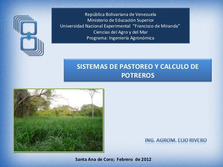 """República Bolivariana de Venezuela             Ministerio de Educación SuperiorUniversidad Nacional Experimental """"Francisc..."""