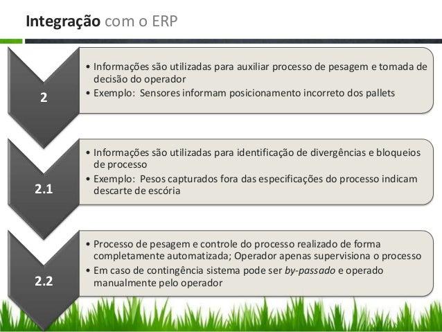 Integração com o ERP 2 • Informações são utilizadas para auxiliar processo de pesagem e tomada de decisão do operador • Ex...