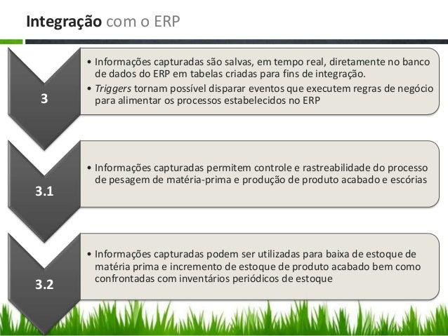 Integração com o ERP 3 • Informações capturadas são salvas, em tempo real, diretamente no banco de dados do ERP em tabelas...