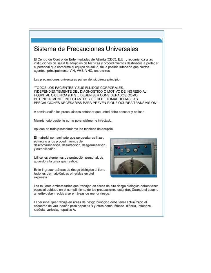 Principio del formulario<br />Final del formulario<br /> Sistema de Precauciones UniversalesEl Centro de Control de Enfer...