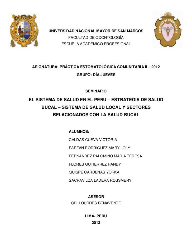 UNIVERSIDAD NACIONAL MAYOR DE SAN MARCOS                 FACULTAD DE ODONTOLOGÍA              ESCUELA ACADÉMICO PROFESIONA...