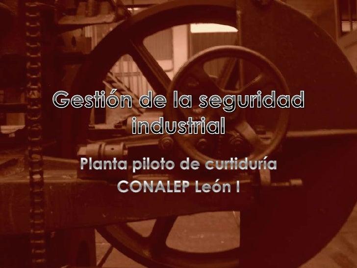 Gestión de la seguridad industrial<br />Planta piloto de curtiduría<br />CONALEP León I<br />