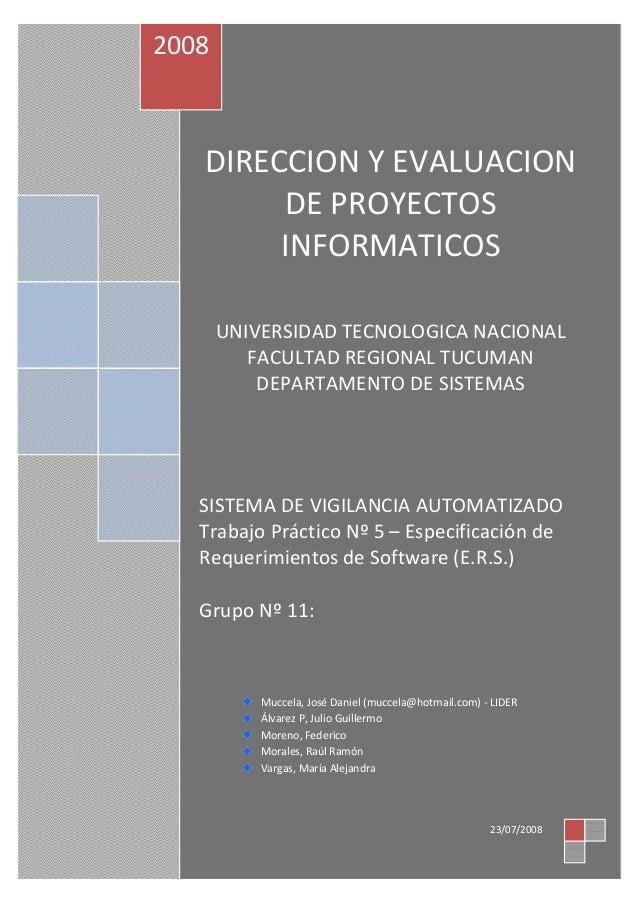 DIRECCION Y EVALUACION DE PROYECTOS INFORMATICOS UNIVERSIDAD TECNOLOGICA NACIONAL FACULTAD REGIONAL TUCUMAN DEPARTAMENTO D...