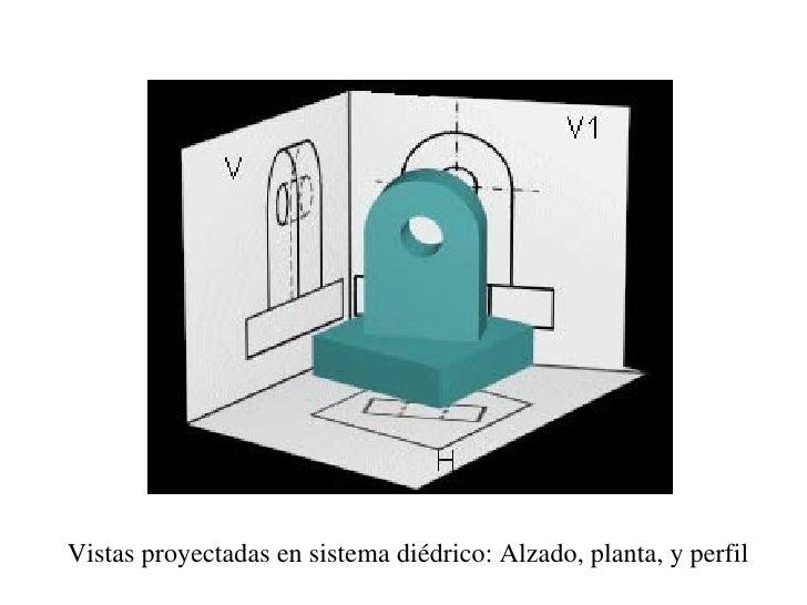 Vistas proyectadas en sistema diédrico: Alzado, planta, y perfil