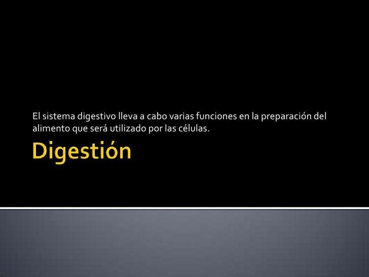 Digestión<br />El sistema digestivo lleva a cabo varias funciones en la preparación del alimento que será utilizado por la...