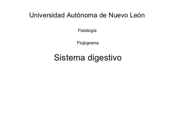 Sistema digestivo Universidad Autónoma de Nuevo León Fisiología Flujograma