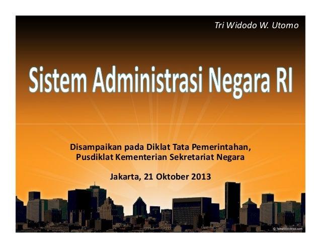 Tri Widodo W. Utomo  Disampaikan pada Diklat Tata Pemerintahan, Pusdiklat Kementerian Sekretariat Negara Jakarta, 21 Oktob...