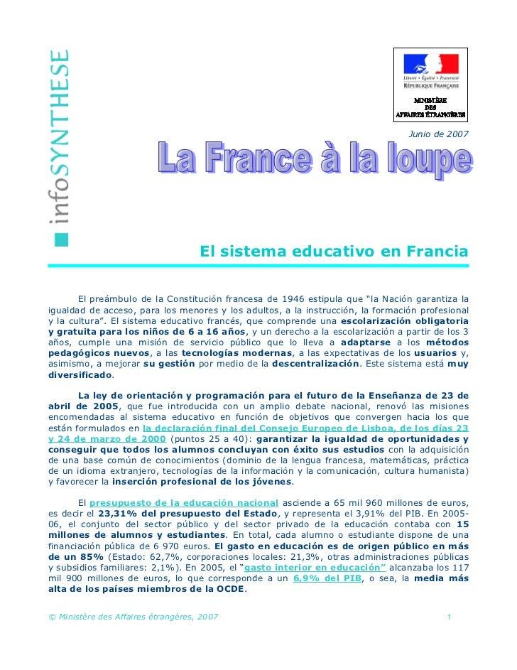Junio de 2007                                    El sistema educativo en Francia       El preámbulo de la Constitución fra...