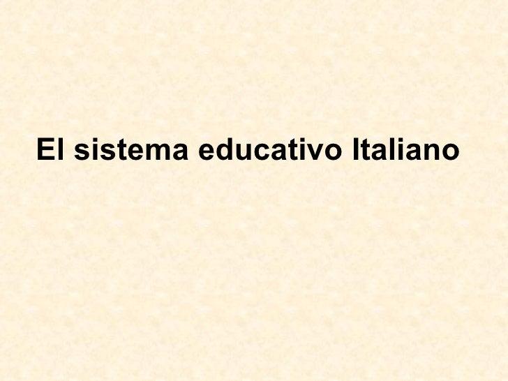 El sistema educativo Italiano