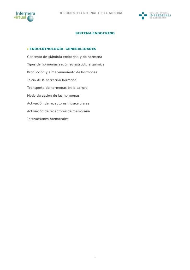 DOCUMENTO ORIGINAL DE LA AUTORA                              SISTEMA ENDOCRINO ENDOCRINOLOGÍA. GENERALIDADESConcepto de gl...