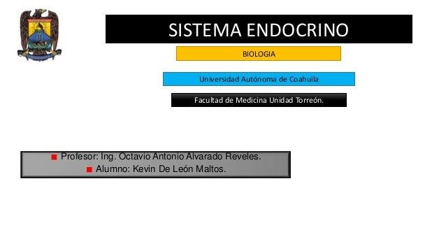 SISTEMA ENDOCRINO BIOLOGIA Universidad Autónoma de Coahuila Facultad de Medicina Unidad Torreón.  Profesor: Ing. Octavio A...