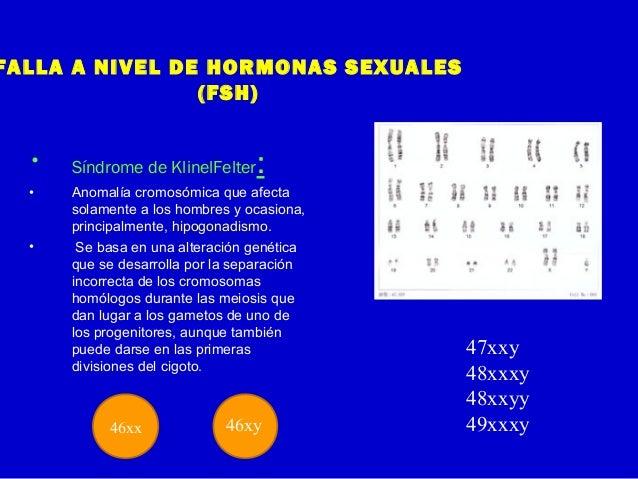 FALLA A NIVEL DE HORMONAS SEXUALES(FSH)• Síndrome de KlinelFelter:• Anomalía cromosómica que afectasolamente a los hombres...
