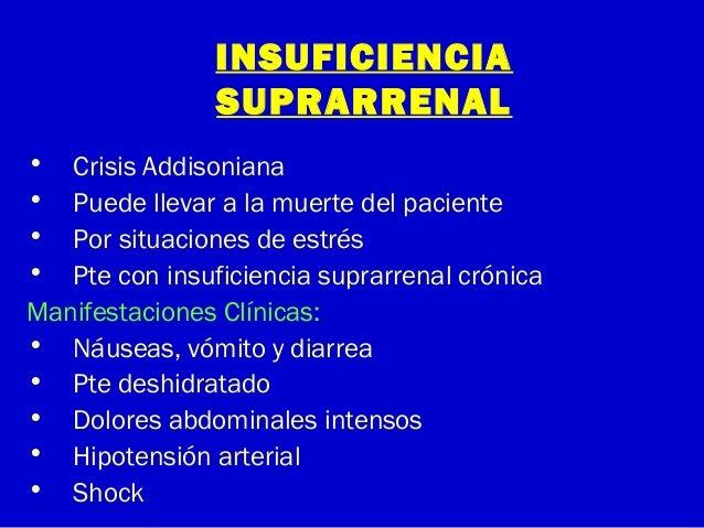 INSUFICIENCIASUPRARRENAL• Crisis Addisoniana• Puede llevar a la muerte del paciente• Por situaciones de estrés• Pte con in...