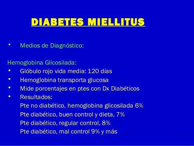 DIABETES MIELLITUS• Medios de Diagnóstico:Hemoglobina Glicosilada:• Glóbulo rojo vida media: 120 días• Hemoglobina transpo...