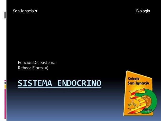 SISTEMA ENDOCRINO Función Del Sistema Rebeca Florez =) San Ignacio ♥ Biología