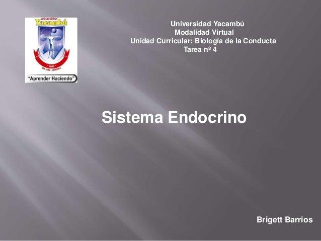 Universidad Yacambú Modalidad Virtual Unidad Curricular: Biología de la Conducta Tarea nº 4 Brigett Barrios Sistema Endocr...