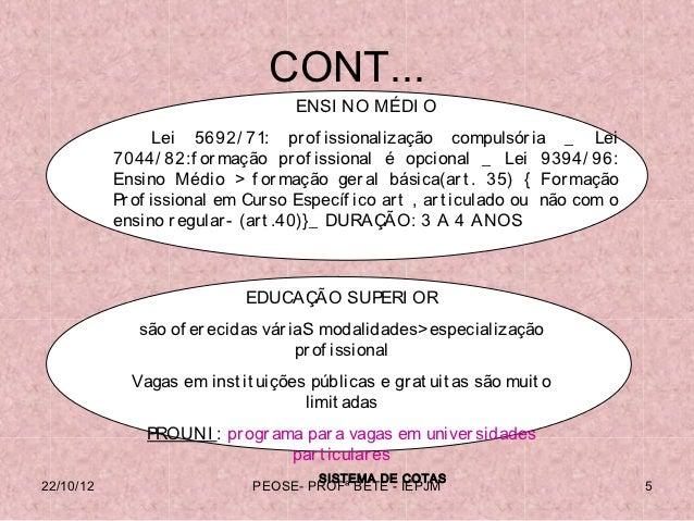 CONT...                                   ENSI NO MÉDI O                  Lei 5692/ 71: pr of issionalização compulsór ia ...