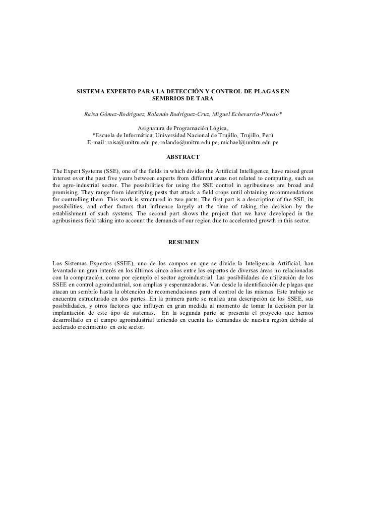 SISTEMA EXPERTO PARA LA DETECCIÓN Y CONTROL DE PLAGAS EN                            SEMBRIOS DE TARA            Raisa Góme...