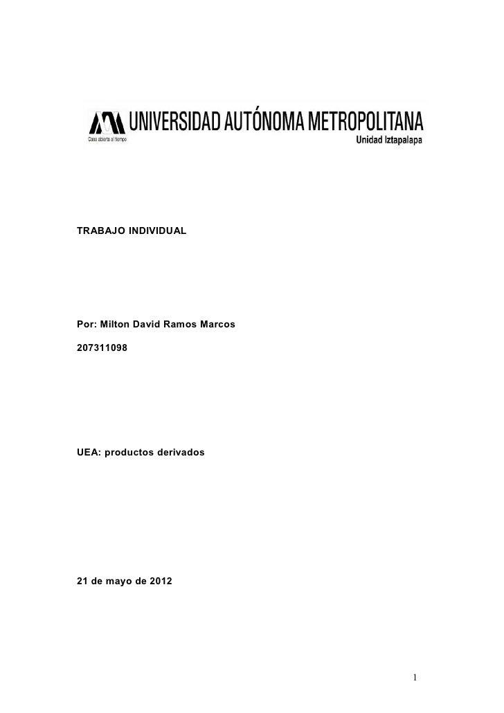 TRABAJO INDIVIDUALPor: Milton David Ramos Marcos207311098UEA: productos derivados21 de mayo de 2012                       ...
