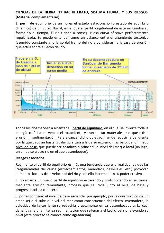 CIENCIAS DE LA TIERRA, 2º BACHILLERATO, SISTEMA FLUVIAL Y SUS RIESGOS.(Material complementario)El perfil de equilibrio de ...
