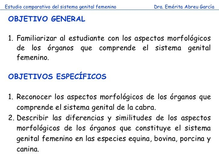 Estudio comparativo del sistema genital femenino   Dra. Emérita Abreu García OBJETIVO GENERAL 1. Familiarizar al estudiant...