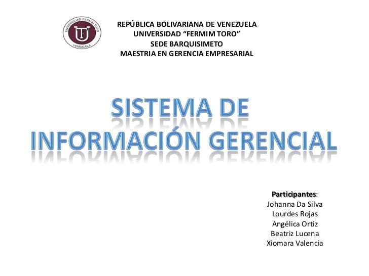 """REPÚBLICA BOLIVARIANA DE VENEZUELA    UNIVERSIDAD """"FERMIM TORO""""        SEDE BARQUISIMETO MAESTRIA EN GERENCIA EMPRESARIAL ..."""