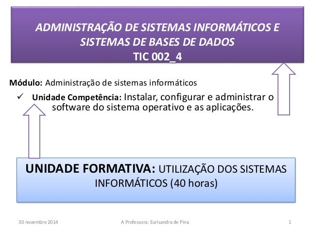 ADMINISTRAÇÃO DE SISTEMAS INFORMÁTICOS E  SISTEMAS DE BASES DE DADOS  TIC 002_4  Módulo: Administração de sistemas informá...