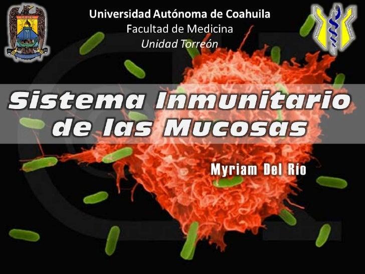 SistemaInmunitario de lasMucosas<br />Myriam Del Río<br />Universidad Autónoma de Coahuila<br />Facultad de Medicina<br />...