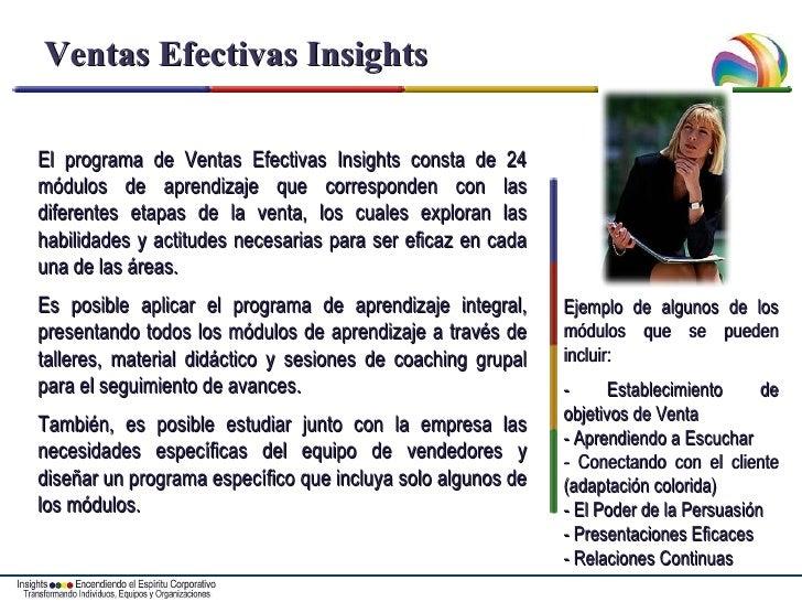 Ventas Efectivas Insights El programa de Ventas Efectivas Insights consta de 24 módulos de aprendizaje que corresponden co...