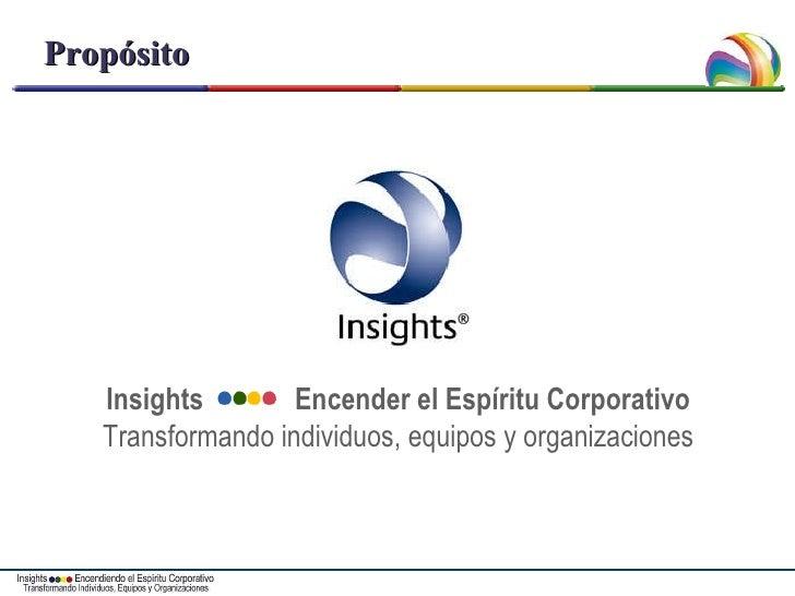 Propósito Insights  Encender el Espíritu Corporativo Transformando individuos, equipos y organizaciones