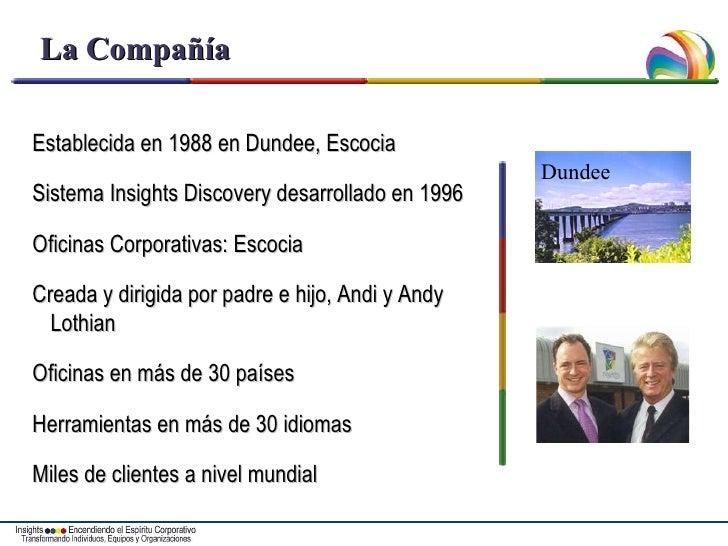 La Compañía Establecida en 1988 en Dundee, Escocia Sistema Insights Discovery desarrollado en 1996 Oficinas Corporativas: ...