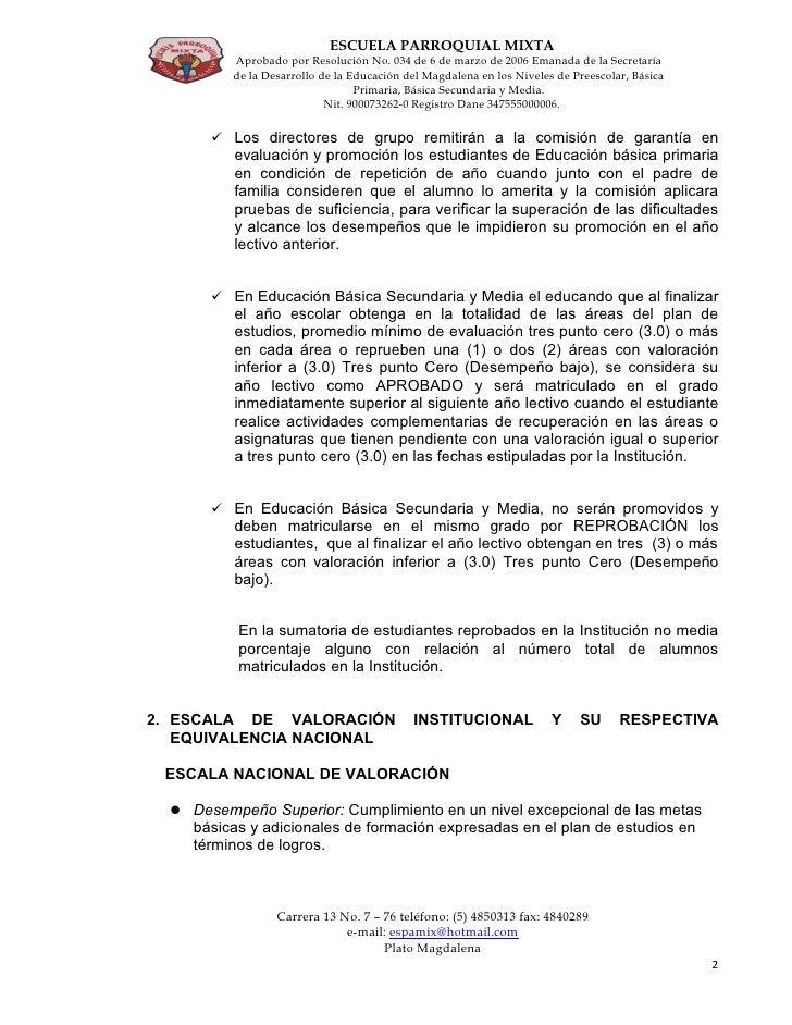 Sistema Institucional De EvaluacióN Y PromocióN Estudiantil De La Escuela Parroquial Mixta Slide 2