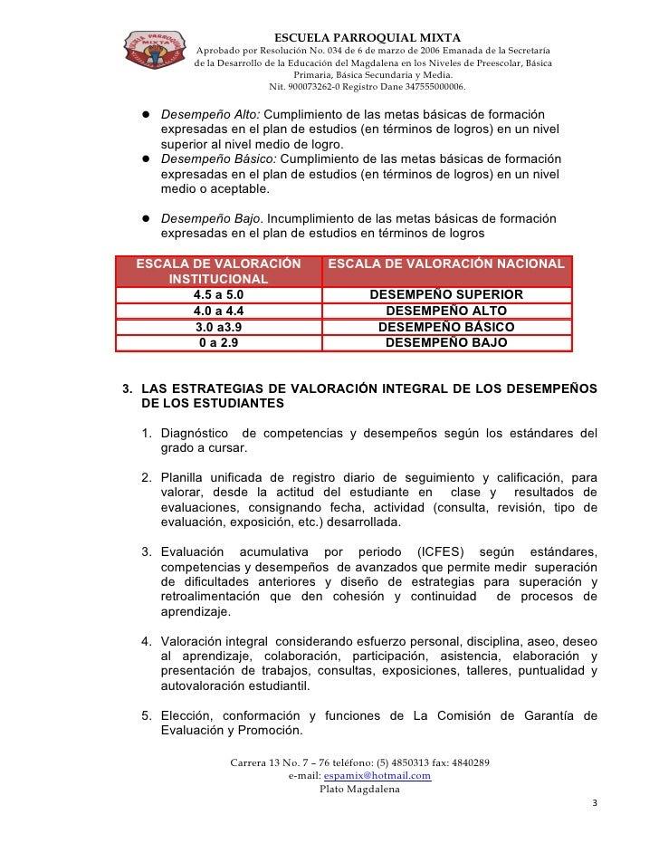 Sistema Institucional De EvaluacióN Y PromocióN Estudiantil De La Escuela Parroquial Mixta Slide 3