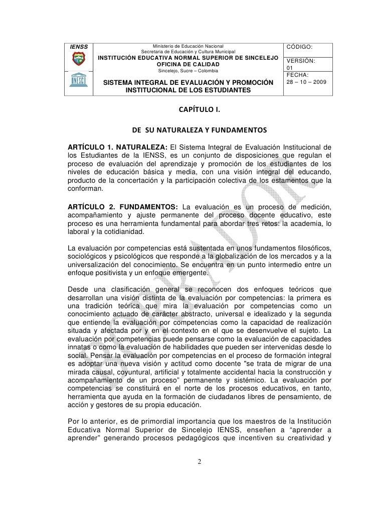 Sistema integral de evaluaci n y promoci n institucional for Oficina nacional de evaluacion