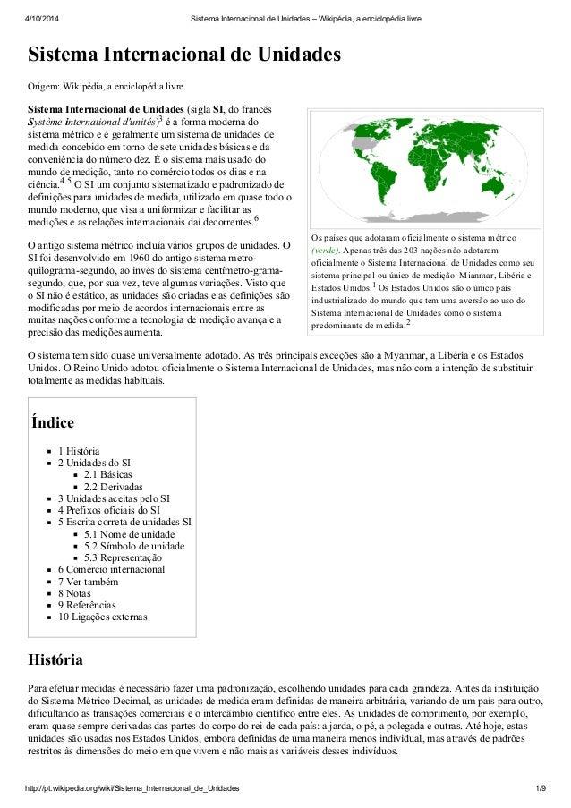 4/10/2014 Sistema Internacional de Unidades – Wikipédia, a enciclopédia livre  Sistema Internacional de Unidades  Os paíse...