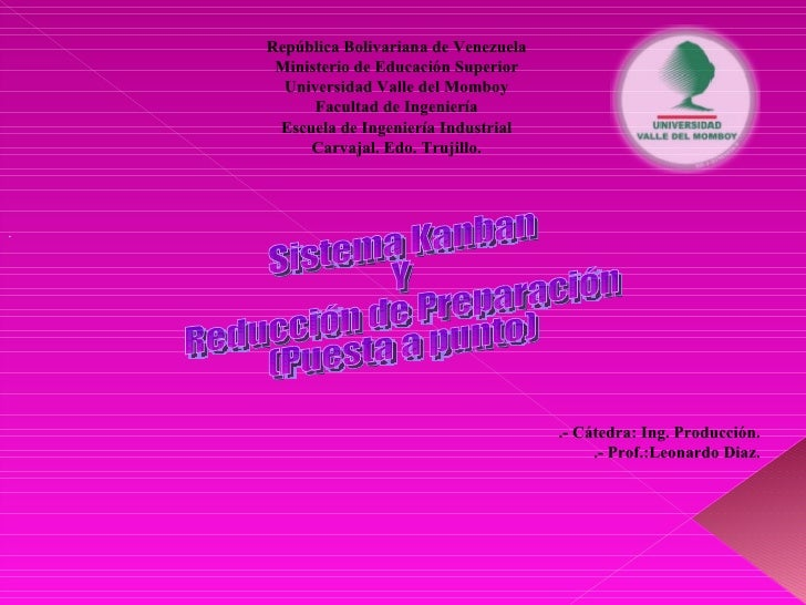 Sistema Kanban  Y  Reducción de Preparación (Puesta a punto) . República Bolivariana de Venezuela Ministerio de Educación ...
