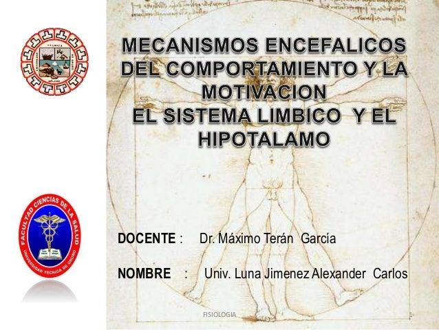 DOCENTE : NOMBRE :  Dr. Máximo Terán García Univ. Luna Jimenez Alexander Carlos FISIOLOGIA  1