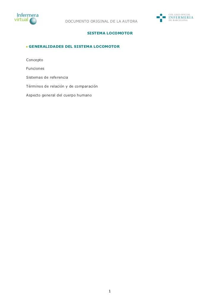 DOCUMENTO ORIGINAL DE LA AUTORA                               SISTEMA LOCOMOTOR GENERALIDADES DEL SISTEMA LOCOMOTORConcept...