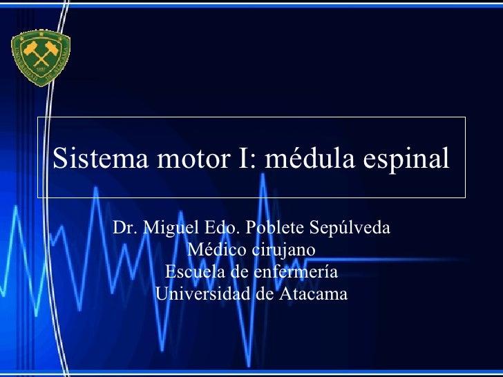 Sistema motor I: médula espinal Dr. Miguel Edo. Poblete Sepúlveda Médico cirujano Escuela de enfermería Universidad de Ata...