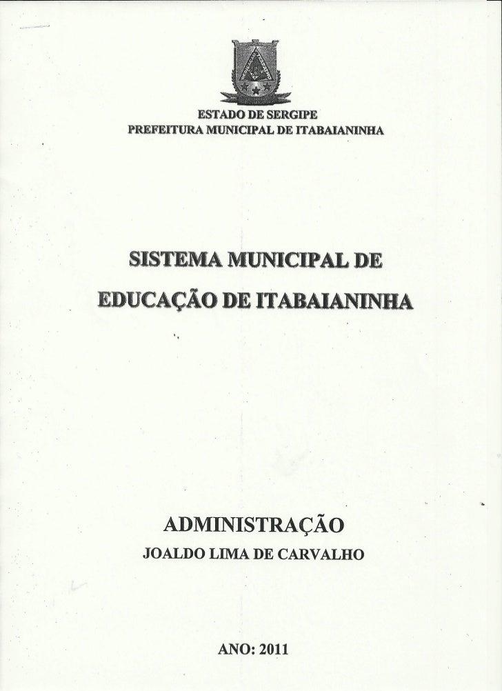 Sistema municipal de educação de itabaianinha