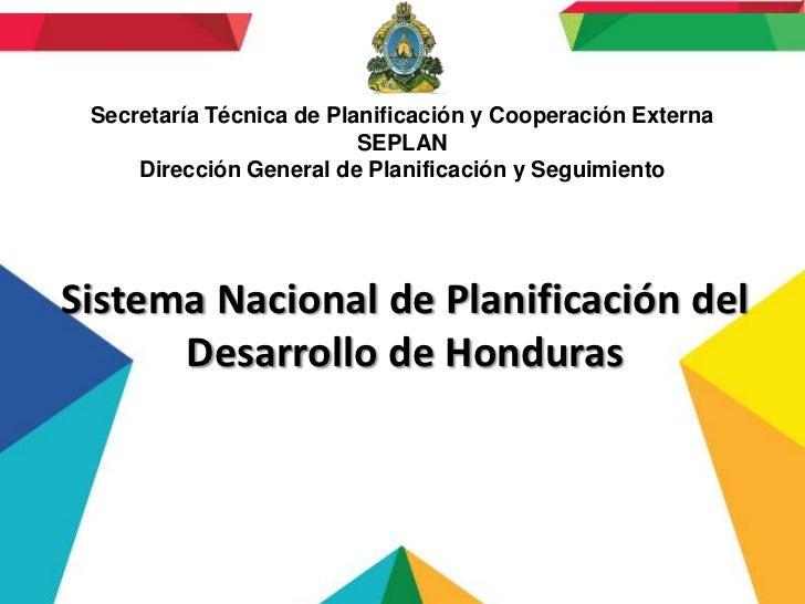 Secretaría Técnica de Planificación y Cooperación Externa                          SEPLAN     Dirección General de Planifi...