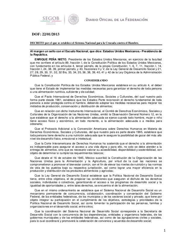 DOF: 22/01/2013 DECRETO por el que se establece el Sistema Nacional para la Cruzada contra el Hambre. Al margen un sello c...
