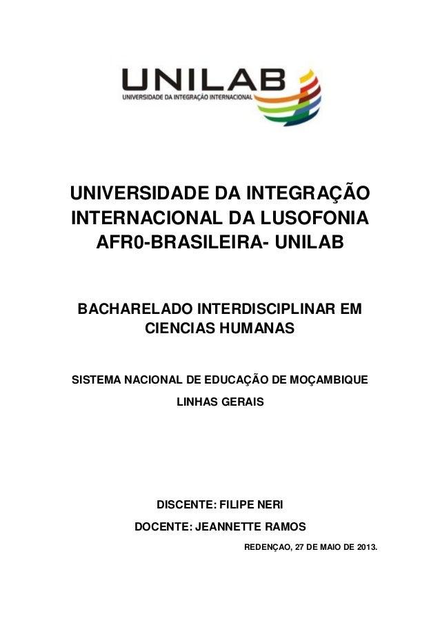 UNIVERSIDADE DA INTEGRAÇÃOINTERNACIONAL DA LUSOFONIAAFR0-BRASILEIRA- UNILABBACHARELADO INTERDISCIPLINAR EMCIENCIAS HUMANAS...