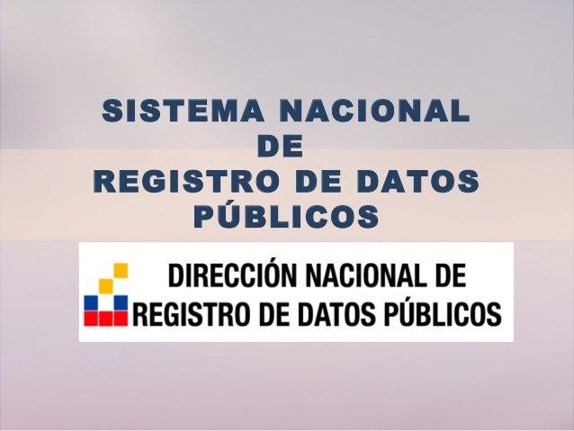 SISTEMA NACIONAL DE REGISTRO DE DATOS PÚBLICOS
