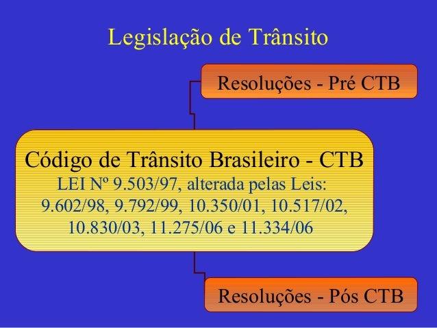 Legislação de Trânsito Código de Trânsito Brasileiro - CTB LEI Nº 9.503/97, alterada pelas Leis: 9.602/98, 9.792/99, 10.35...