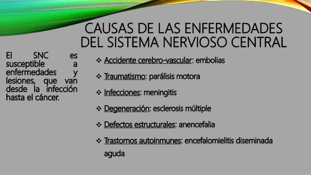 CAUSAS DE LAS ENFERMEDADES DEL SISTEMA NERVIOSO CENTRAL El SNC es susceptible a enfermedades y lesiones, que van desde la ...